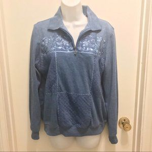 ALFRED DUNNER blue floral quilt pullover sweater S